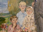 Ленин и дети 188-123 см., холст, масло 1970е  - 1