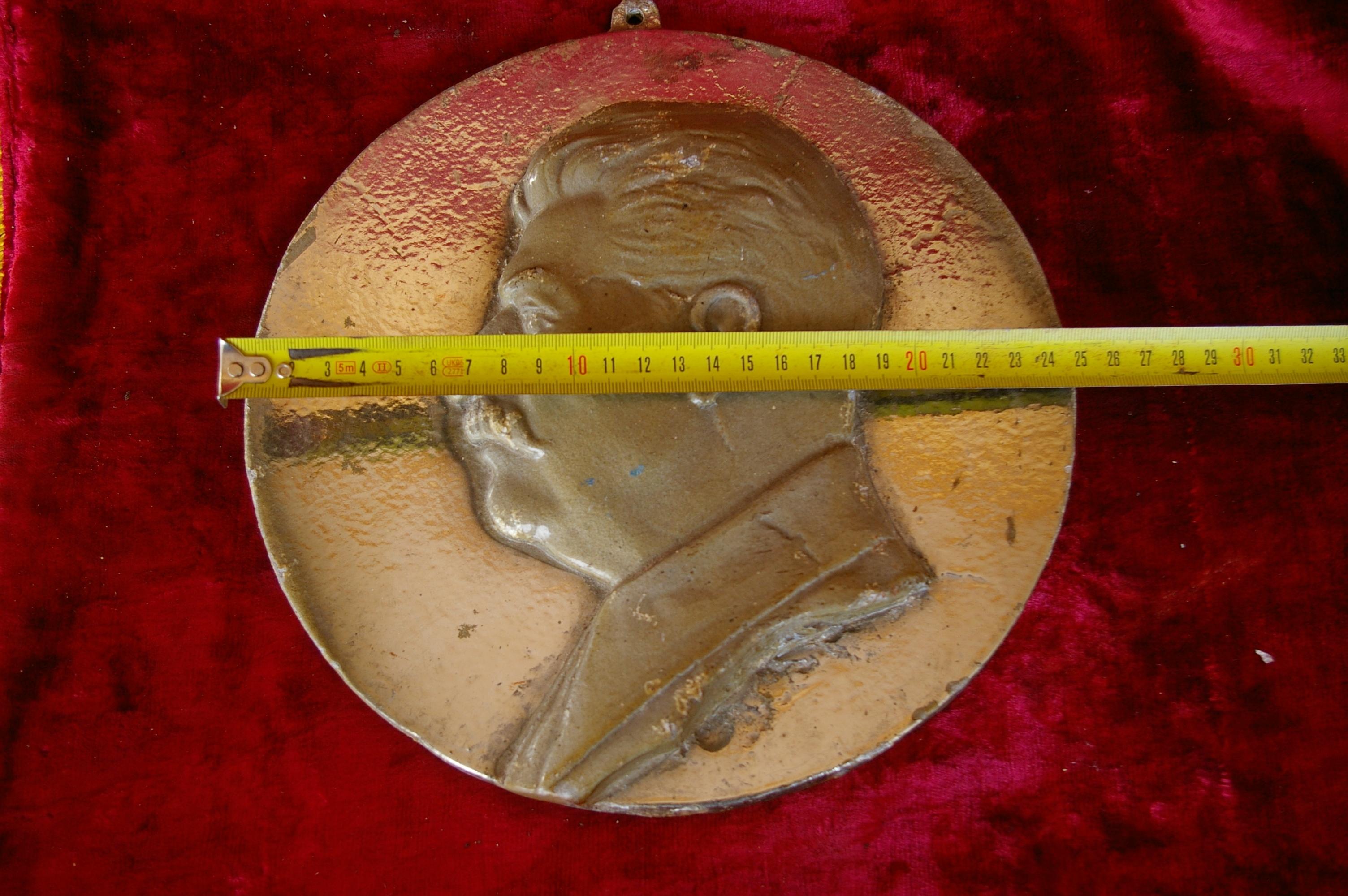 Барельеф Сталин, материал метал, ширина 24 см. - 3