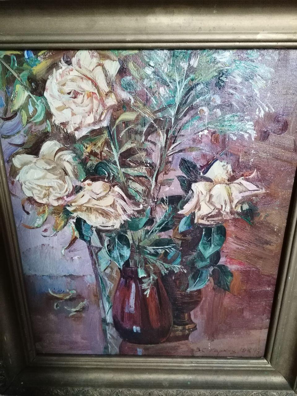 Розы  60-50 см., холст, масло 1984 год  - 2