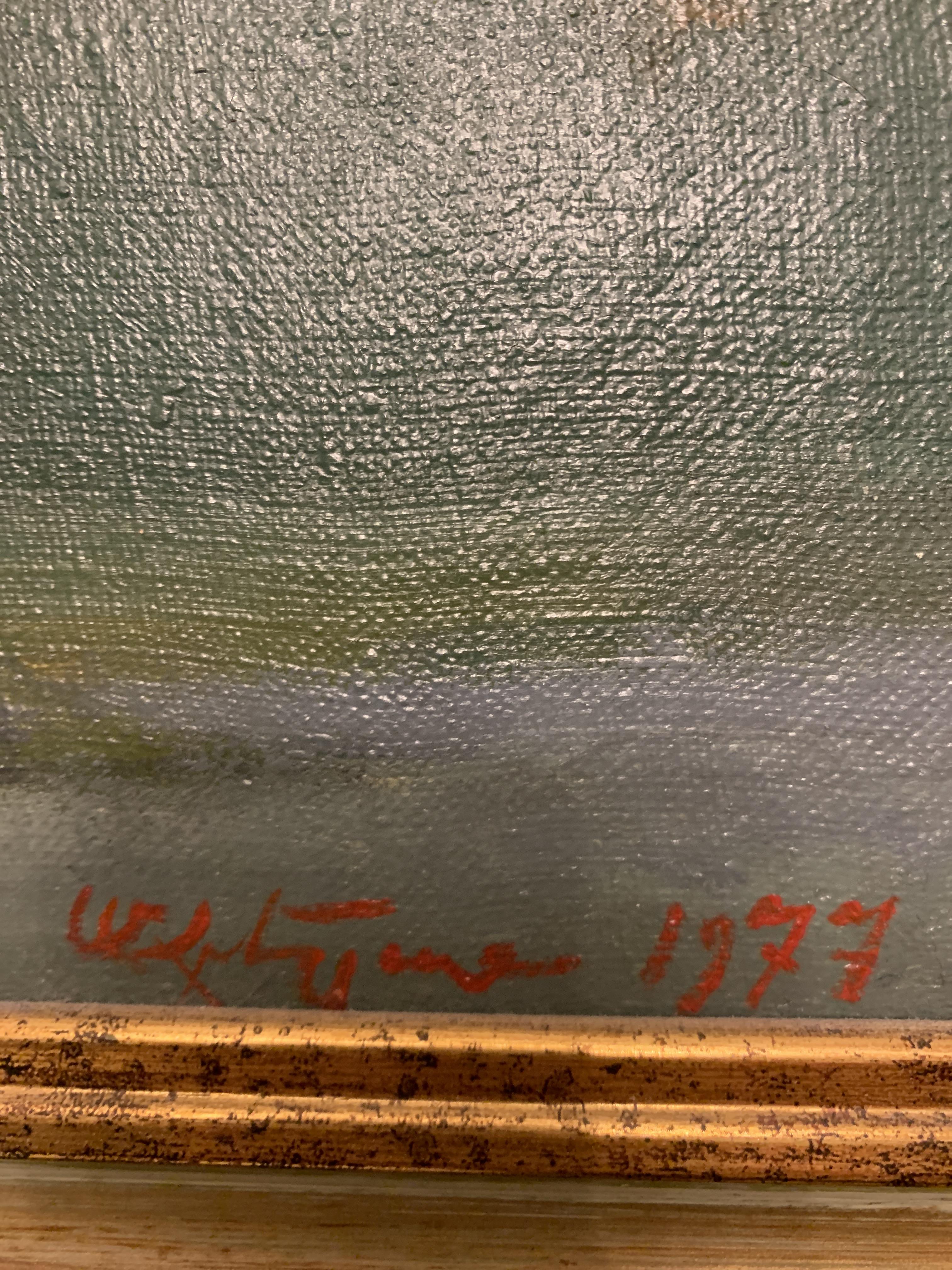 Синяя ваза с цветами 60-52 см., холст, масло 1977 год  - 1