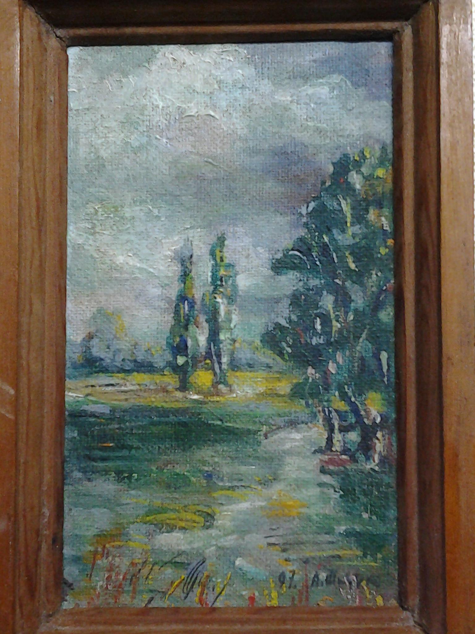 Пейзаж луг 17,5-10,5 см., холст на картоне, масло 1997 год  - 1
