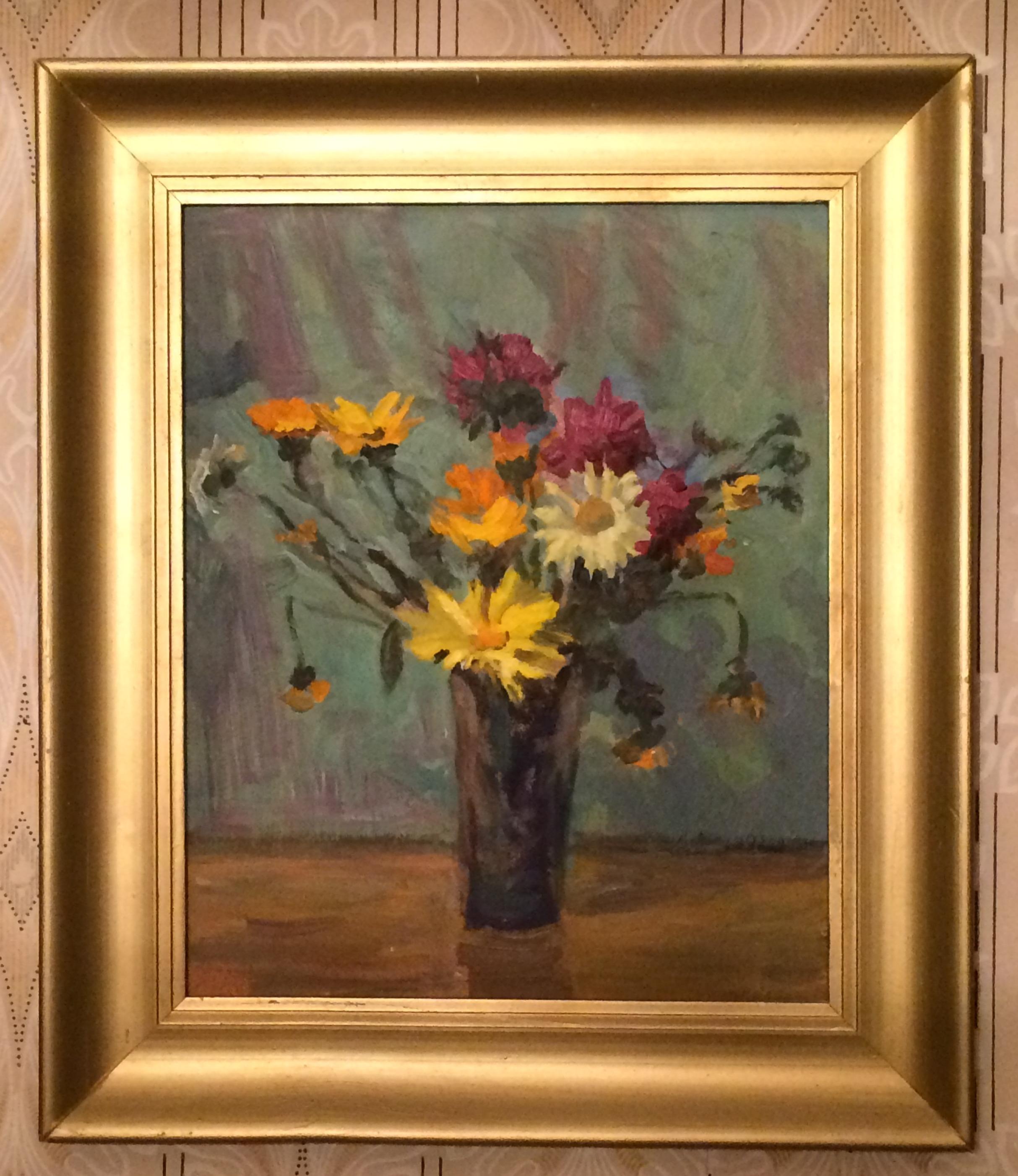 Цветы в темной вазе 39-32 см. холст, масло 1979 - 1