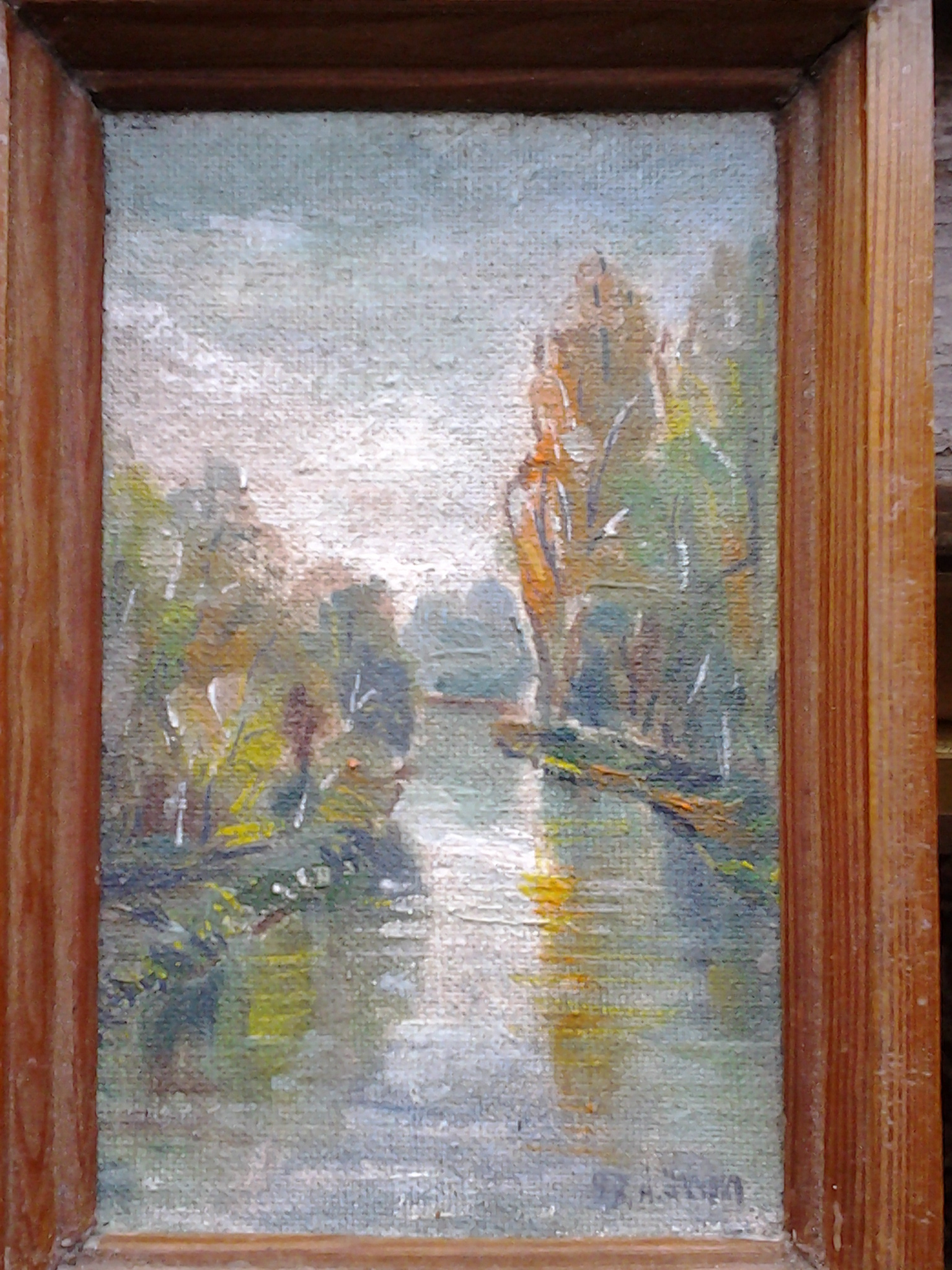 Река 17,5-10,5 см., холст на картоне, масло 1997 год  - 1