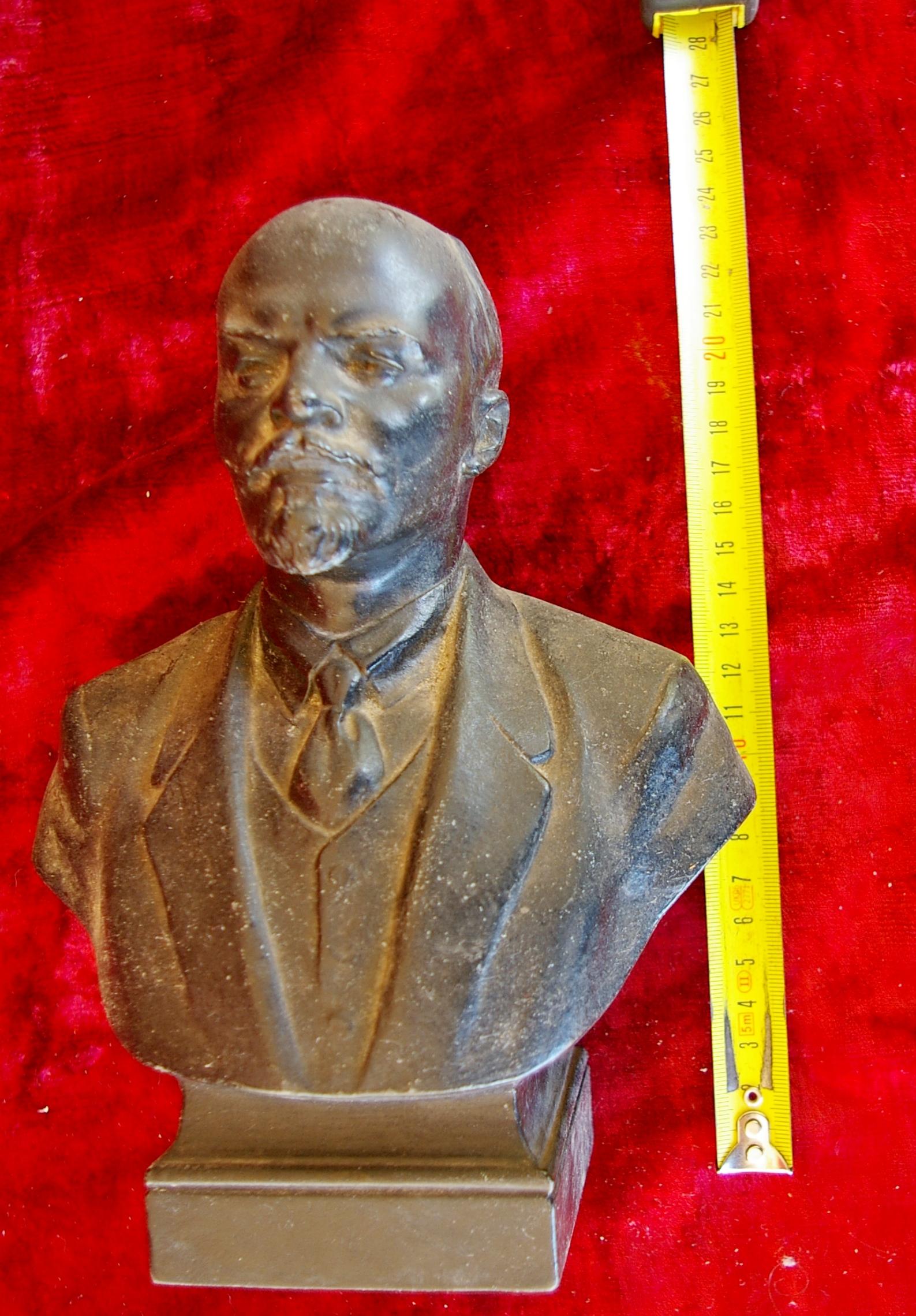 Ленин бюст, материал метал, высота 24 см., ширина 7 см., длина 7 см.  - 7