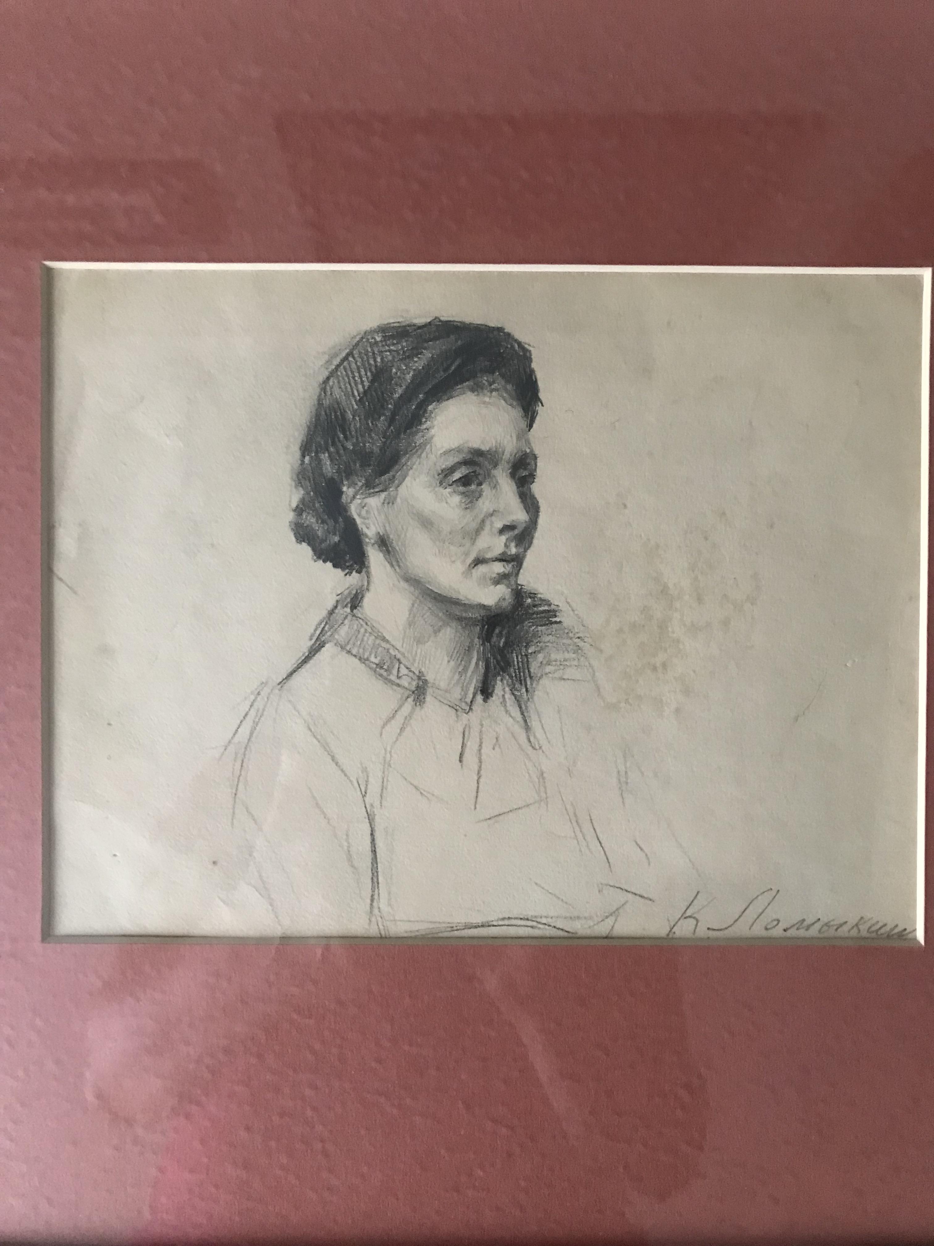 Портрет 16-21 см., бумага, карандаш  - 1