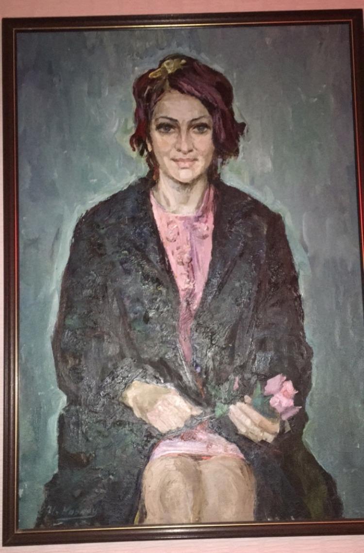 Девушка в розовом 100-68 см. холст, масло 1967  - 1