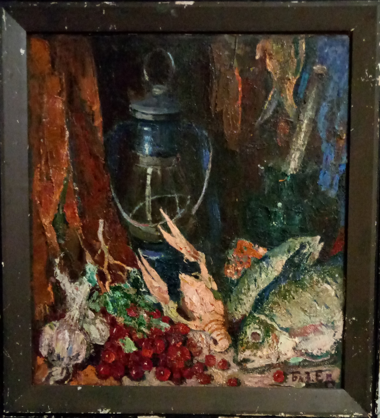 Базилянский Э. И. Натюрморт с Рыбой 54-49 см., картон, оргалит 1984   - 1
