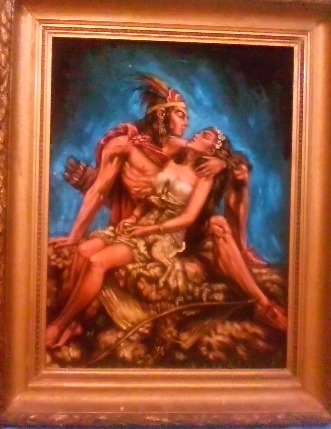 Влюбленная пара американский индеец с девушкой на руках 70-85 см., бархат черный, масло 1950е  - 2