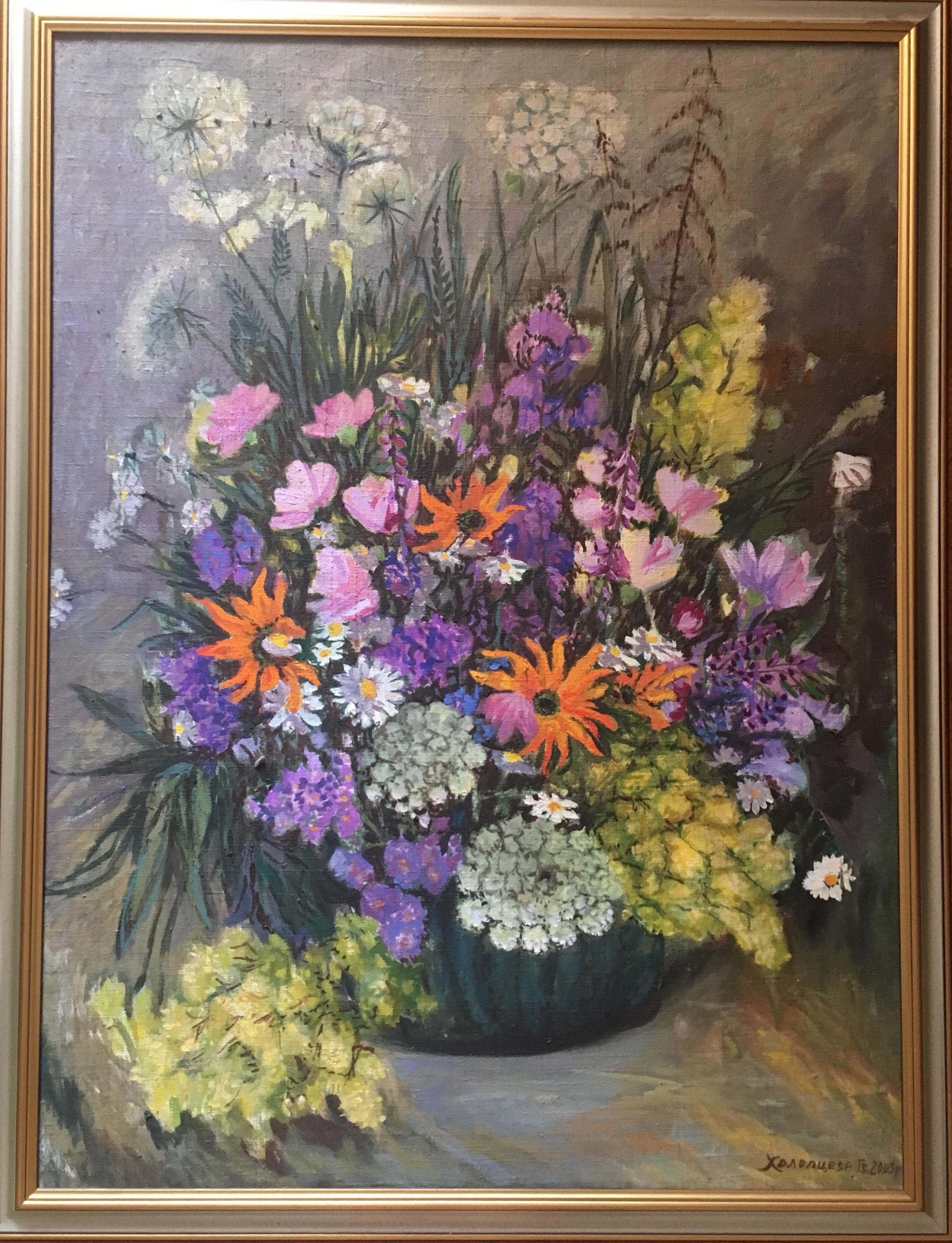 Цветочный натюрморт 66-88 см., холст, масло, 2003 год  - 1