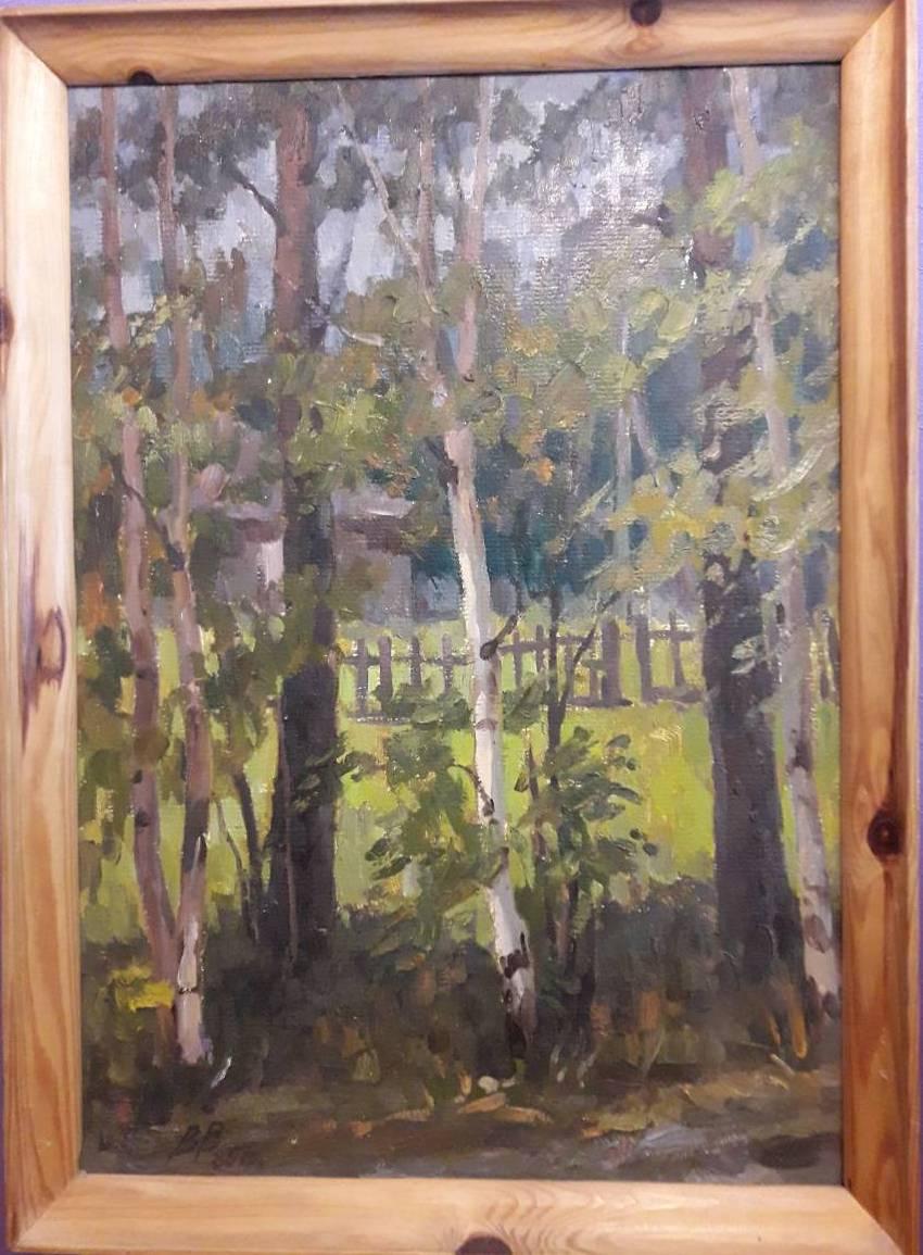 Березы 50-70 см., картон, масло 1985  - 2