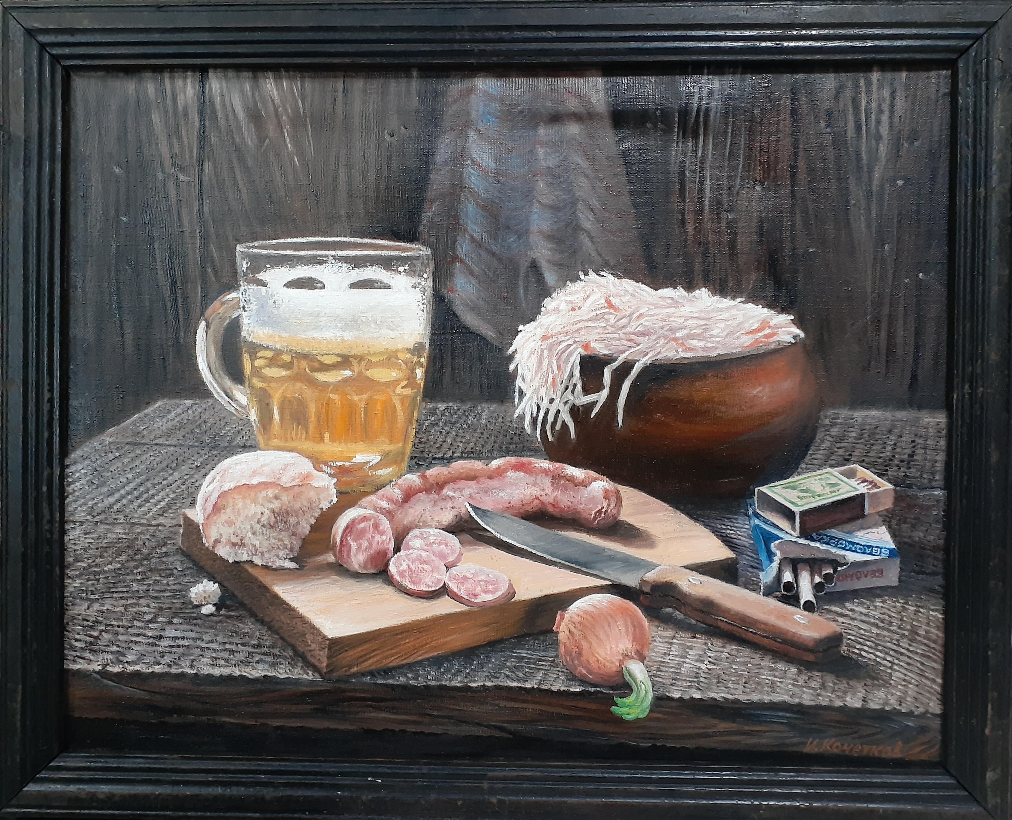 Натюрморт с пивом, колбасой, квашеной капустой и сигаретами 44-57 см., холст, масло 1960-е  - 1
