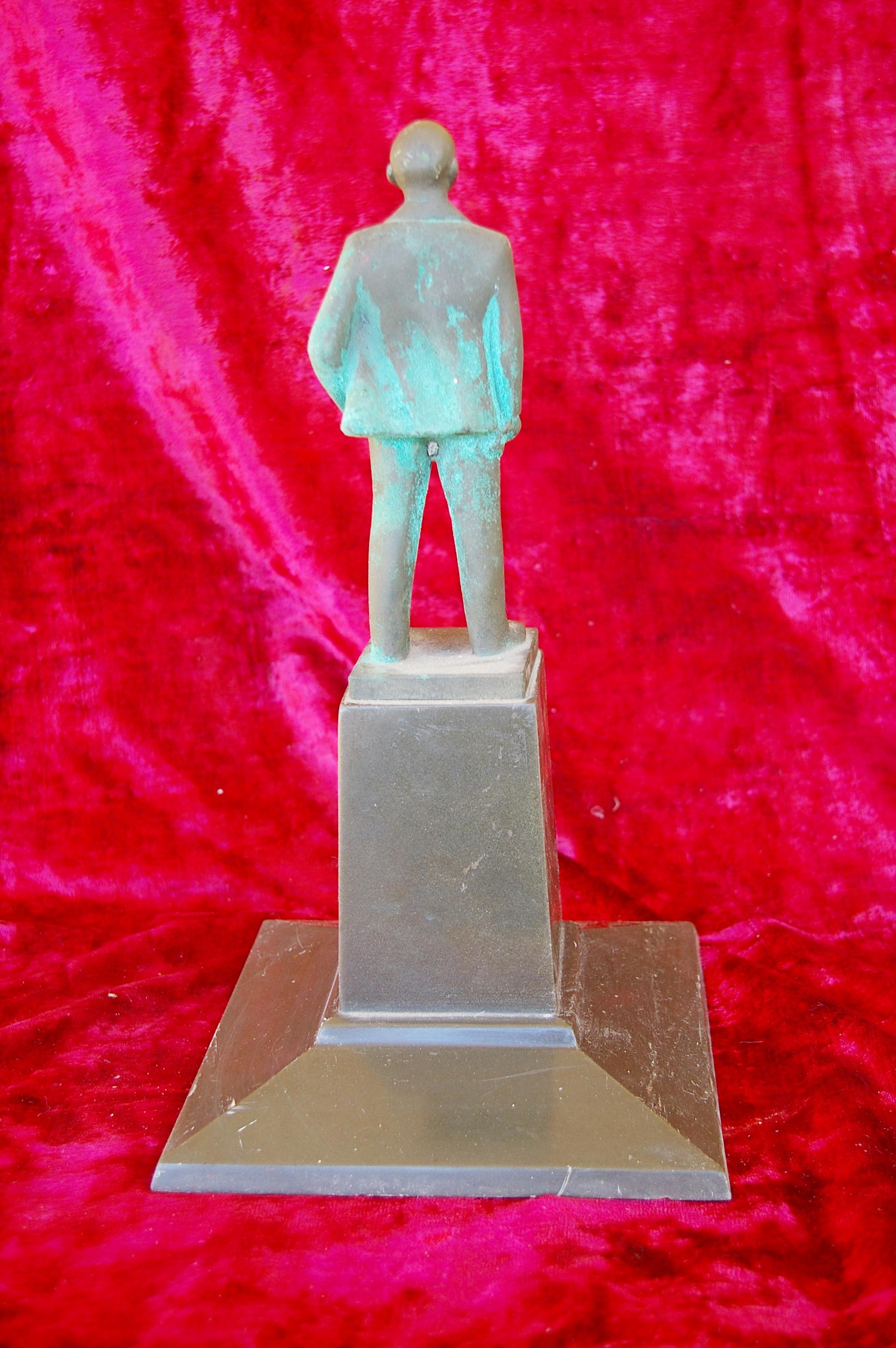 Скульптура Ленин на постаменте, материал бронза, высота 35 см., ширина 20 см., длина 20 см. - 2