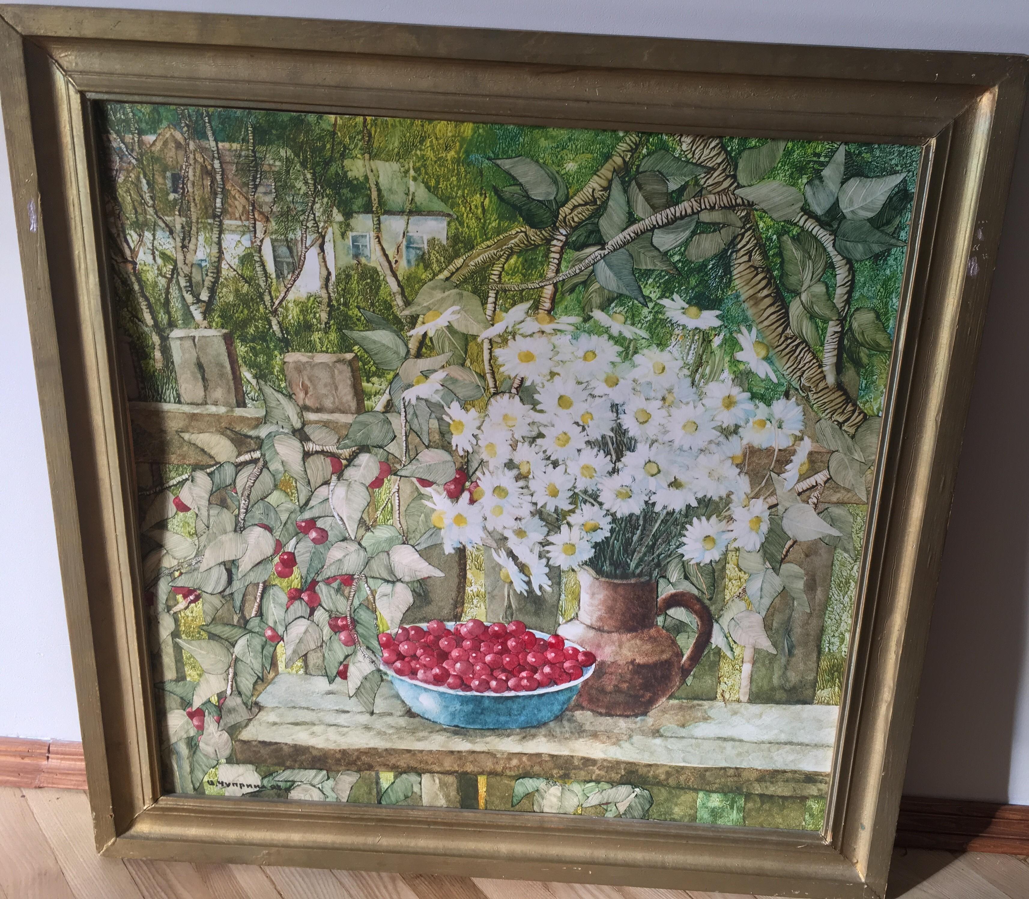 Херсонские вишни 78-78 см. картон, акварель 1995  - 2