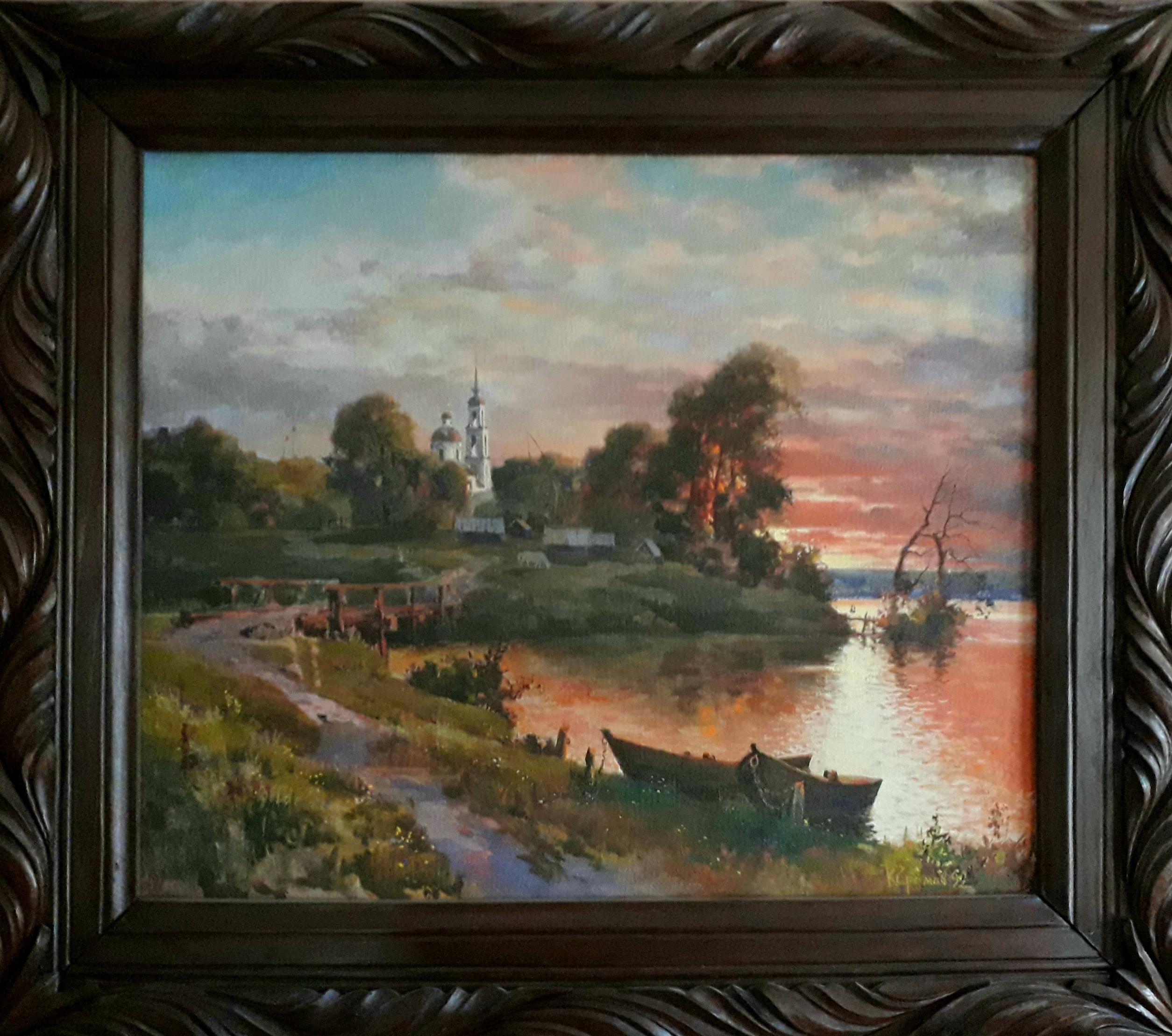 Закат на берегу реки 55-65 см., холст, масло 1992 год - 1